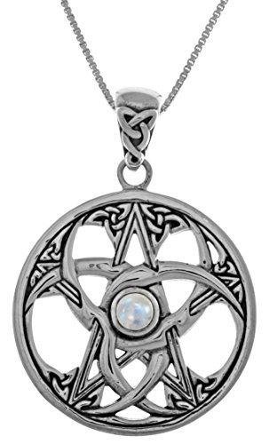 Jewelry Trends Celtic Crescent Moon Pentacle Star Sterling Silver Pendant Necklace 18' Moonstone