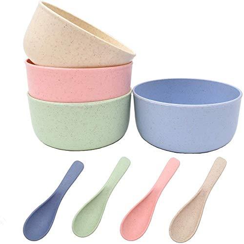Youery 4 Piezas Juego Cuencos Cereales Cuchara,irrompibles Cereales Bowls,Trigo Paja Plástico Tazón Cuchara Cuencos Sopa Ensalada Tazones Vajillas para Niños Adulto Anciano