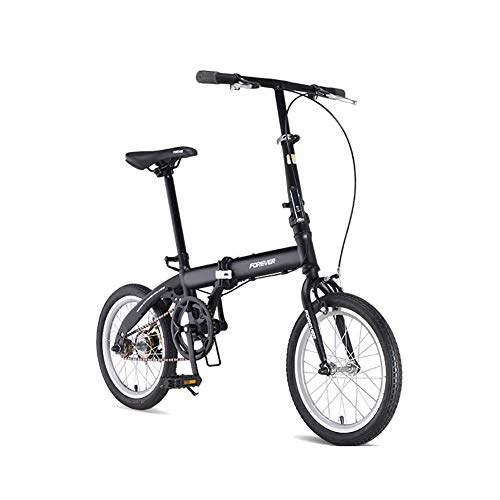TZYY Leicht Klapprad Kohlefaser Rahmen,16in Mini Citybike,Erwachsene Single Speed Fahrrad Schwarz 16in