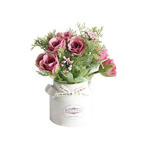 Homeofying - 1 jarrón de cerámica con Maceta de Flores Artificiales para decoración de Bodas y Fiestas