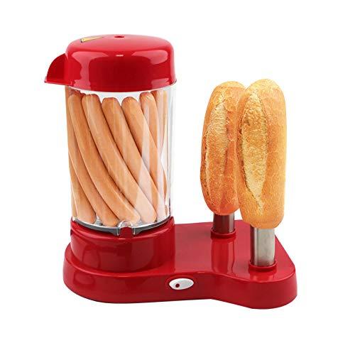 xue binghualoll Hot-Dog-Maker für 1 bis 14 Würstchen, Hot-Dog Maschine mit abnehmbaren Wärmebehälter - Würstchenwärmer mit Edelstahlspieße zur Brötchen Erwärmung, Rot 26x18x29 cm