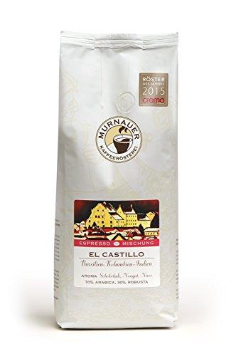 Murnauer Kaffeerösterei EL CASTILLO - Espressobohnen aus Brasilien - Premium Kaffee - von Hand frisch & schonend geröstet - Espresso und Filterkaffee - 1000g ganze Bohnen