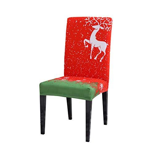 HSKB - Funda elástica para silla de Navidad, diseño de alce