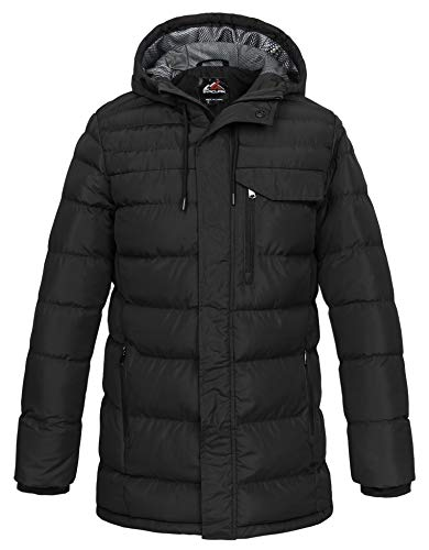 svacuam Men's Quilted Padded Thicken Puffer Coat with Hood(Black,M)