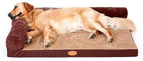 Haustierbett Große Deluxe Coffee Brown Memory Foam Hundesofa Matratze Bett, Premium-Corduroy und Streifen Velveteen Stoff, abnehmbar und waschbar Katzenbett ( Color : Brown , Size : M(100×80×29cm) )