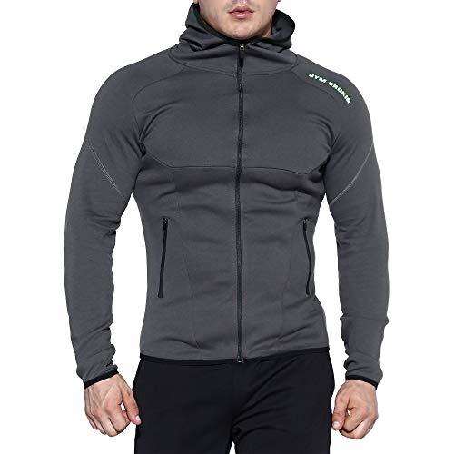 BROKIG sudadera con capucha para hombre, con cierre de cremallera, ligera, con bolsillos con cremallera -  Gris -  Medium