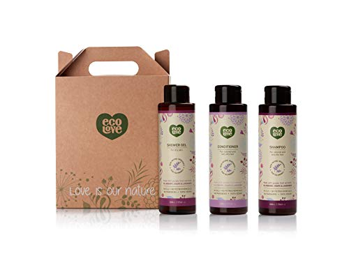 ecoLove Natural Shampoo, Conditioner and Body Wash Set (Pack of 3) with Organic Blueberry, Grape and Lavender Extract for Color Treated Hair Dry Damaged Hair and Dry Skin Vegan SLS Free (3 x 17.6 oz)
