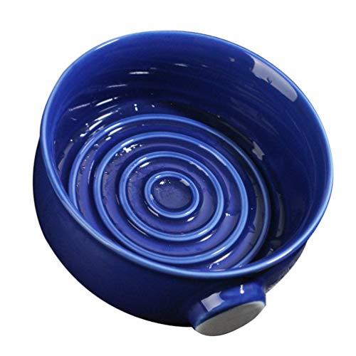 HEALLILY en Céramique Rasage Bol de Savon Porcelaine Crème à Raser Porte-Savon Tasse de Nettoyage Tasse Rasage Récipient en Mousse pour Salon de Coiffure Barbier Bleu