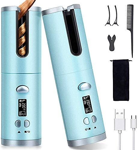 Ferro arricciacapelli automatico senza fili, display LCD e bacchetta e timer regolabili per arricciare i capelli anti-groviglio, Bigodino Rotante Portatile Ricaricabile USB (blu)