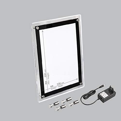 Marco acrílico LED, HD Blanco, tamaño 40CM X 30CM, 7W 6400K, Adecuado para Marcos domésticos, Marcos publicitarios para Tiendas, también se Puede Usar como Regalo