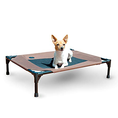 K&H Pet Products Original Pet Cot Elevated Dog Bed Chocolate/Black Mesh Medium 25 X 32 X 7 Inches