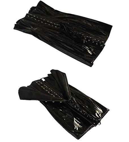 Wonder Pretty Women Faux Leather Corset Dress Sexy Wetlook PVC Steampunk Gothic Strapless Bustier Dress Large Black steampunk buy now online