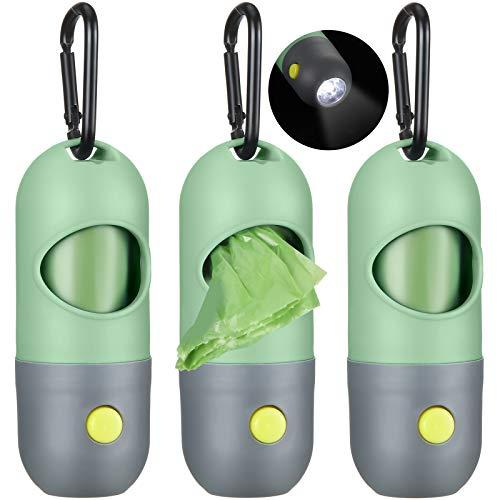 3 Set Hundekot Abfallbeutel Halter Spender mit LED Taschenlampe und 3 Rollen Auslaufsicher Hundehaufen Abfallsäcke (Grün)