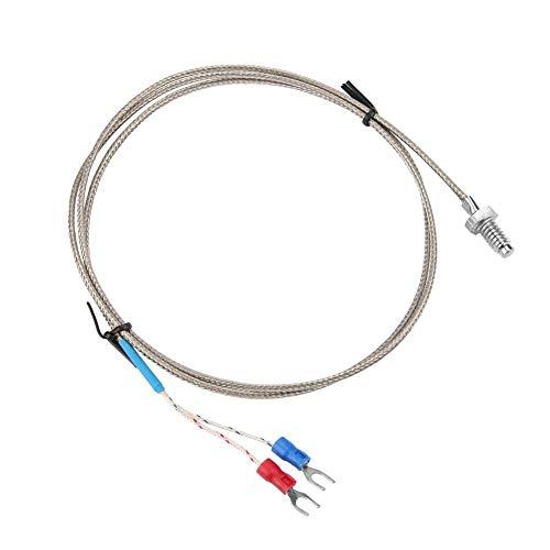 Cable del sensor de temperatura, M6 BSW Sonda de medición de la temperatura de la rosca de tornillo Tipo K Sensor de termopar con cable de 1-5 metros(1M)