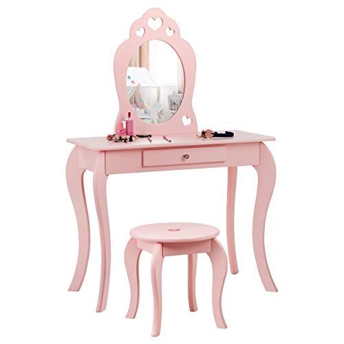 COSTWAY Kinder Schminktisch mit Hocker und Abnehmbarer Spiegel, Mädchen Frisiertisch Holz, Kindertisch mit Schublade, Spiegeltisch 70x34x105cm (Pink)