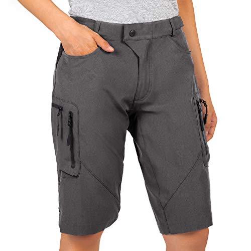 Cycorld MTB Hose Damen Radhose, Schnelltrocknend Mountainbike Hose mit Innenhose und hochwertigem Sitzpolster, L, Dunkelgrau