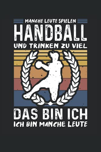 Handball und Bier Notizbuch (liniert) Handballerin Retro Vintage