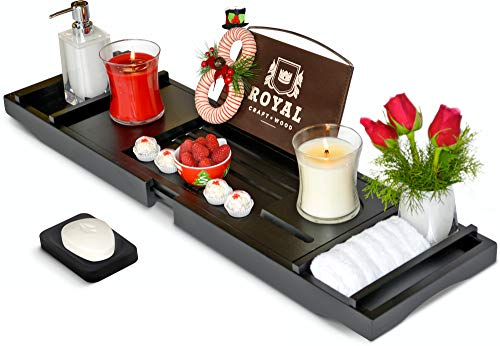 ROYAL CRAFT WOOD Luxury Bamboo Bathtub Caddy Tray with Book and Wine Holder - One or Two Person Bath and Bed Tray with Extending Sides - Free Soap Dish (Black)