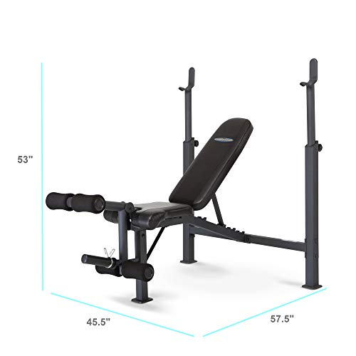 Marcy Competitor Adjustable Olympic Weight Bench with Leg Developer for Weight Lifting and...
