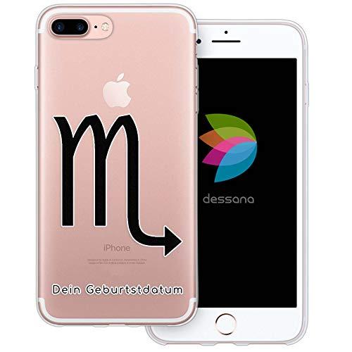 dessana sterrenbeeld met datum transparante silicone TPU beschermhoes 0,7 mm dunne mobiele telefoon soft case cover tas voor Apple, Apple iPhone 8 Plus, Schorpioen verjaardag.