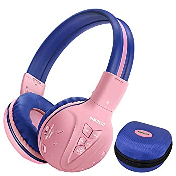 SIMOLIO Bluetooth Kids Headphones Volume Limited,Kids Safe Headphone with Share Jack Wireless Headphones for Kids Bluetooth Kids Headsets for iPad/iPhone/Kindle/Tablets/Car and Gift for Girls  Pink