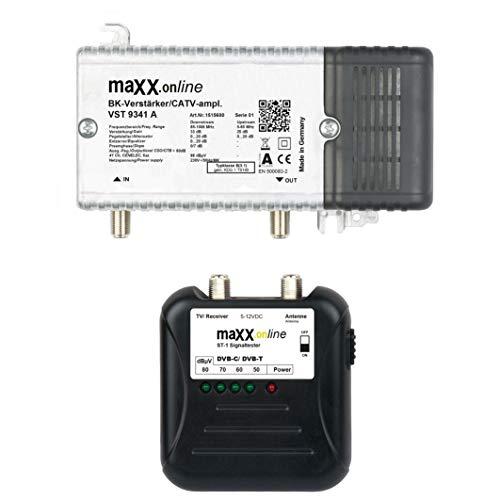 maxx.onLine Hausanschlussverstärker VST 9341 A, 1 GHz 33 dB Verstärkung, Rückkanal, BK-Verstärker inkl. ST-1 Signaltester analog/digital 40-862 MHz für Kabelfernsehen DVB-C/DVB-T