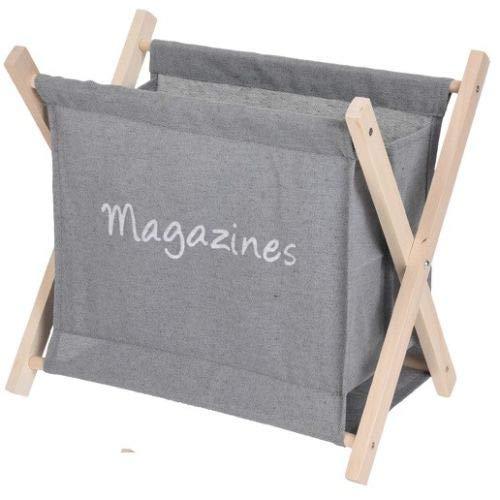 Koopp Zeitungsständer aus Segeltuch, zusammenklappbar, Holz grau