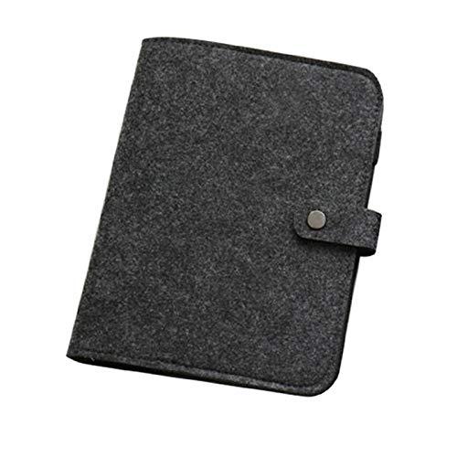 Fiacvrs Agenda Cuaderno de hojas sueltas A5/A6 de escritura a mano para página de ejercicios, papelería de regalo, carpeta de tela de fieltro simple a presión