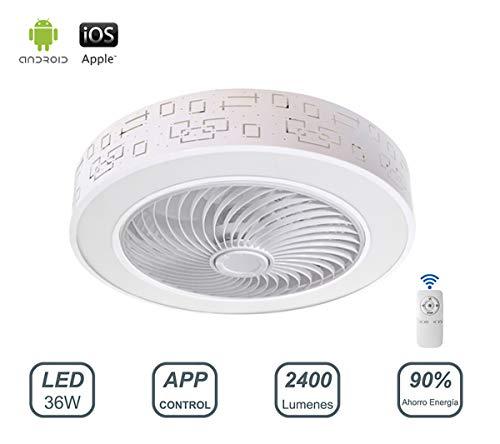 Ventilador de Techo con Luz Lámpara LED 36W Ventilador Invisible App Control con Mando a Distancia Luz Regulable Luz Fría/Neutra/Cálida Φ51*H24cm Decoración de Interiores Plafón de Techo lluminación