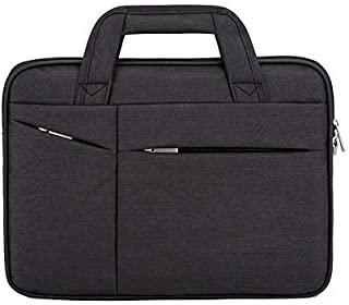 JAUROUXIYUJI Computer Bag Oxford Cloth Handbag Simple Fashion Men and Women Business Briefcase Bag (Color : Black, Size : 16 inches)