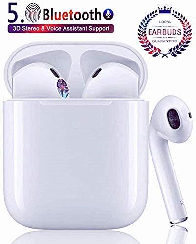 Auricolare Bluetooth Senza Fili, Cuffie Wireless Stereo 3D with IPX7 Impermeabile, Accoppiamento Automatico Per Chiamate Binaurali, Adatto Compatibile con iPhone/Android/Apple AirPods/Samsung/Xiaomi