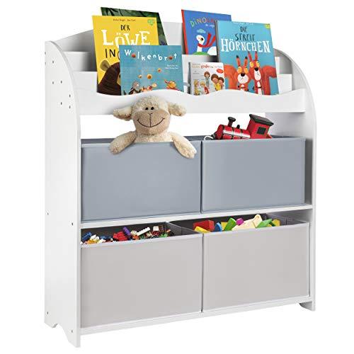 ONVAYA® Kinder-Bücherregal Weiß | Kinderregal mit Boxen | Aufbewahrung von Büchern und Spielzeug | Organizer für Kinderzimmer