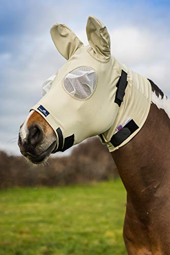Snuggy Hoods Sweet Itch Head/Fly Mask with Zip - Insect & UV Protection (Beige, XS)
