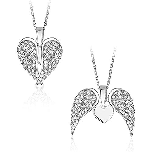 Auplew Collana con ciondolo a forma di ali d'angelo, alla moda, con ciondolo a forma di cuore, per donne
