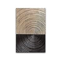 XIANRENGE ポスター 木目調年輪抽象サークルキャンバス北欧ポスターアートウォールプリント抽象絵画モダンデコレーション額縁-50x70cmx1フレームなし