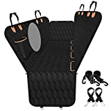 Dog Car Seat Cover for Back Seat, 100% Waterproof Car Hammock for Dogs with Mesh Window, Scratchproof Car Seat Covers for Dogs with 2 Seat Belts&1 Pocket, Durable Pet Seat Cover for Trucks, SUVs.