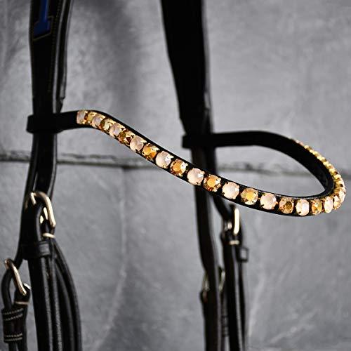 GlücksHucke Pferde Stirnriemen 'Creamy Gold' mit Glitzer in Beige & Gold, handgenäht (WB, Lederfarbe Schwarz)