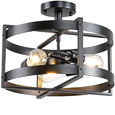 Farmhouse Vintage Industrial Rustic Metal Black Semi Flush Mount Ceiling Light Fixture 3 Lights for Bedroom Hallway Foyer Entryway Kitchen Stairway Dining & Living Room