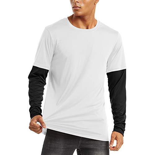 KEFITEVD Herren Sommer T-Shirt UV Schutz Freizeitshirt Langarm Patchwork Komfort Casual Rushguard Shirt Atmungsaktiv Trainingsshirt Männer Schwarz L