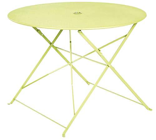 PEGANE Table Ronde Pliante en métal, Coloris Pomme - Dim : D100 x 70cm