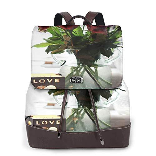Women Leather Backpack Bouquet Mauve Roses, Schoolbag Casual Daypack School Travel Bag Satchel Laptop Backpacks for Women