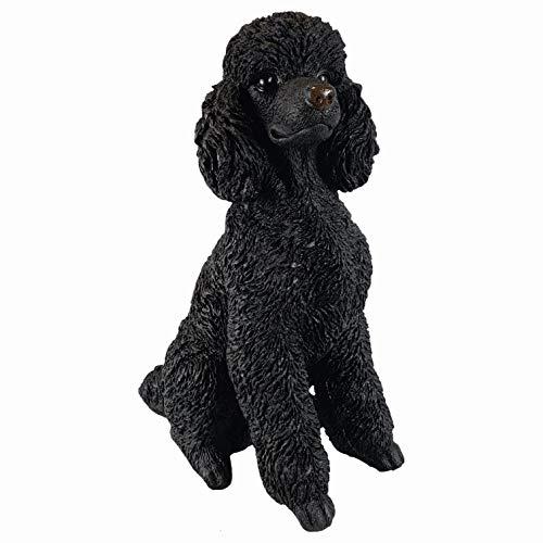 Aspinaworld Schwarze sitzende Pudel Figur, 48 cm, wetterfeste Gartenfigur aus Kunstharz, Hunde Gartenfigur