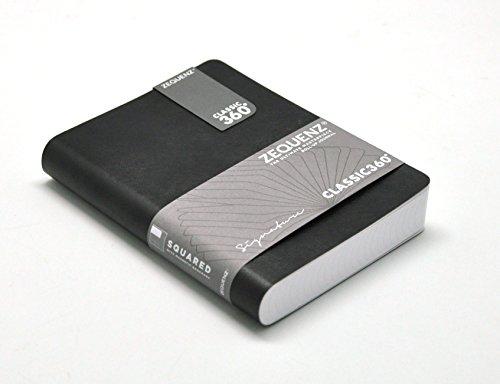 Zequenz Classic 360 Notizbuch, weiches Einband, klein, 10,2 x 14 cm, 200 Blatt/400 Seiten, kariert, Rastermuster, Graph Premium Papier schwarz