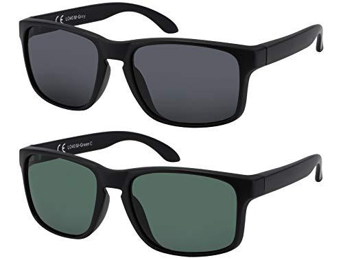 La Optica B.L.M. Sonnenbrille Herren UV400 Retro Sportbrille Fahrradbrille - Doppelpack Set Matt Schwarz (1 x Grau, 1 x Grün Klassisch)