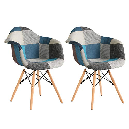 2X Stuhl Esszimmerstuhl Patchwork Design Klassiker Patchwork Sessel Retro Barstuhl Wohnzimmer Küchen Stuhl Esszimmer Sitz Holz Leinen (blue2, 2Pack)