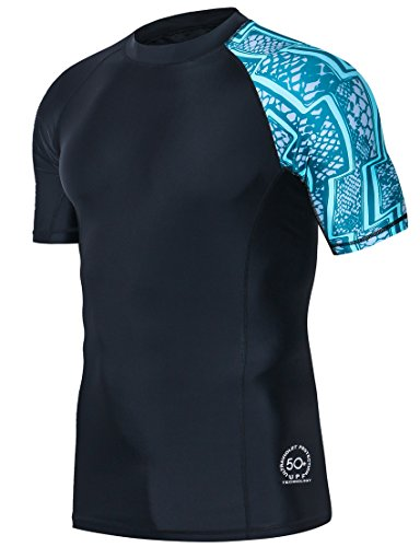 HUGE SPORTS Men's Splice UV Sun Protection UPF 50+ Skins Rash Guard Short Sleeves(Zigzag, XL)