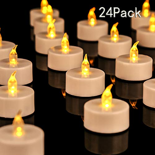 JUNPEI 24Pack Battery Tea Lights - LED Tea Lights Realistic and Bright Flickering Holiday Gift Operated Flameless LED Tea Light for Seasonal & Festival Celebration Warm Yellow Lamp Battery Powered