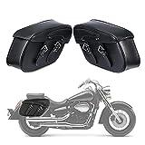 INNOGLOW 2pcs Motorcycle Waterproof Saddle Bags Synthetic Leather 2-Strap Saddle bag Tool Bag Black Universal for Harley Davidson Yamaha Kawasaki Suzuki Ducati Cruiser Bobber Chopper