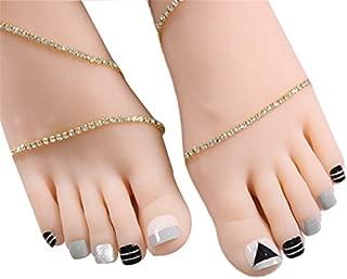 24Pcs French Fake Toenails Art False Toe Nail Tips Stickers With Glue Full Cover Glitter Decorations