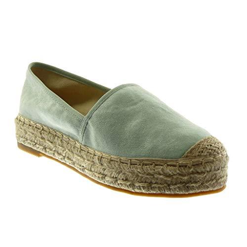 Angkorly Angkorly - Damen Schuhe Espadrille - Slip-on - Seil Blockabsatz 3.5 cm - Grüne 5 LX163 T 40